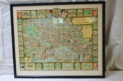 Map of London The Bastion of Liberty by Pictorial Maps Ltd for Travel UK Matted