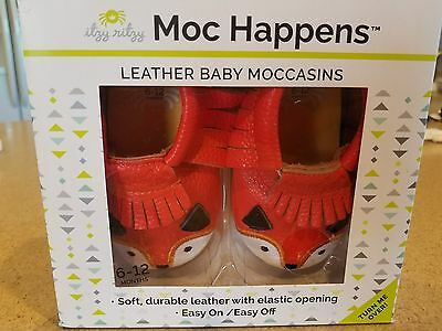 Itzy Ritzy Moc Happens Leather Baby Moccasins- Little Fox, Size M/ 6-12 months