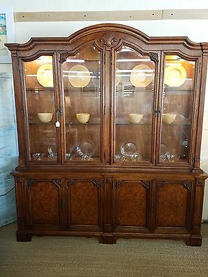 Vintage Fruit Wood Metz Breakfront China Cabinet in Beautiful Condition