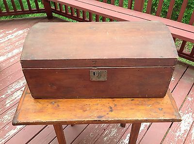 Antique Primitive Dome Top Wooden Chest Trunk Box Aged Pine Country FREE SHIP