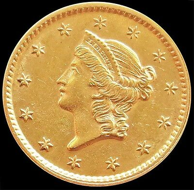 1853 Gold United States Liberty Head $ 1 Dollar Coin -Type 1- Au / Unc Condition