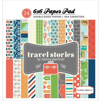 """Carta Bella Double-Sided Paper Pad 6X6"""" 24/Pkg-Travel Stories 12 Designs/2 Each"""