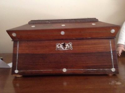 Antique rosewood sewing box with MOP inlay and silver stringwork,for restoration