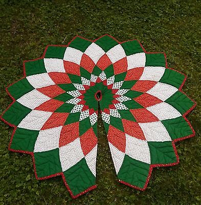 "Vintage Patchwork Quilted Red Green White Christmas Tree Skirt 54""  Handmade"