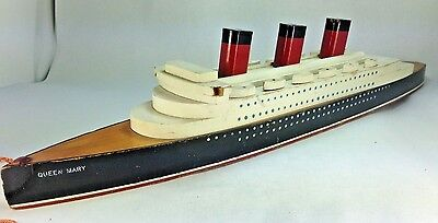 VINTAGE QUEEN MARY Handcrafted Wooden Ship Pull Toy  Model  23""