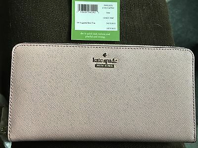 NWT Kate Spade Cameron Street Lacey Leather Wallet Clutch Pink Bonnet New $188