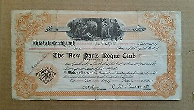 The New Paris Roque Club (Croquet),New Paris,O.,Stock Certificate,1914