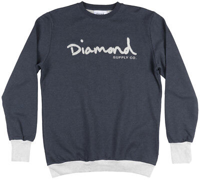 Diamond Supply Co French Terry Branded Pullover Crewneck Sweatshirt Fashion Navy