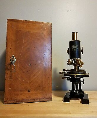 STUNNING Carl Zeiss Jena Nr. 44653 Microscope with Original Wooden Case!