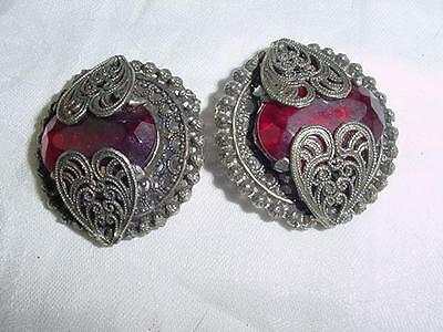 "Two Antique 1.50""  Buttons Silver Filgree Metal  & Red Glass    #1734"