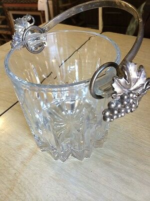 Vintage Crystal Glass Ice Bucket With Grape Leaf Silver Plate Handles