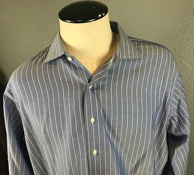 Brooks Brothers Blue Striped Long Sleeve Slim Fit Button Shirt 17 1/2 - 34/35