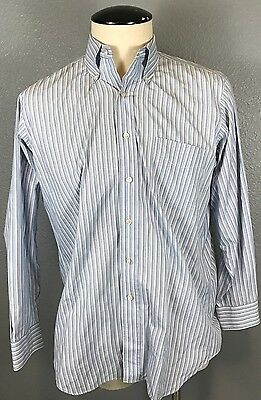 Paul Frederick Men's Button Down Shirt Striped Long Sleeve 16-34 100% Cotton