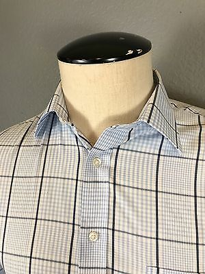 Stafford Men's Button Down Shirt Blue Windowpane Long Sleeve 15.5/(32-33)