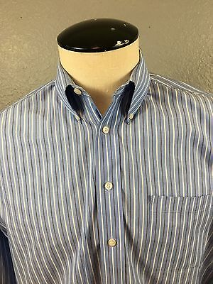 Mens Stafford Blue Striped Long Sleeve Button Down 16 1/2 - 34/35 Blazer Shirt