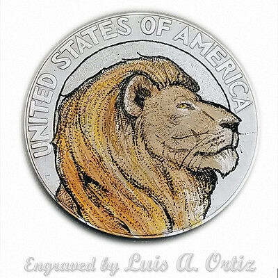 Lion Profile S1243 Ike Hobo Nickel Engraved & Colored by Luis A Ortiz