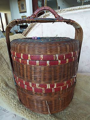 Antique Chinese Lunch Box / Wedding Basket / Sewing Box W/beads & Coins Nr
