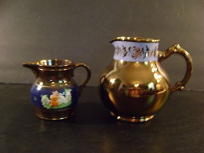 2 Vintage Copper Lusterware Pitchers 1-Gibson Made in England