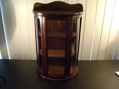 Antique Small Curved Glass Door Curio Display Cabinet