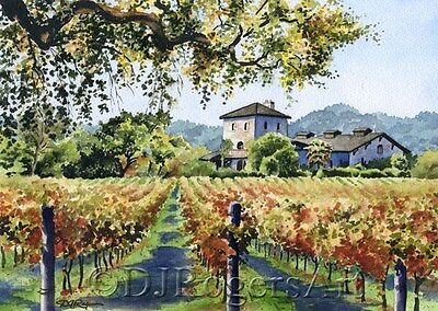VINEYARD HOME Watercolor 8 x 10 ART Print Signed by Artist DJ Rogers