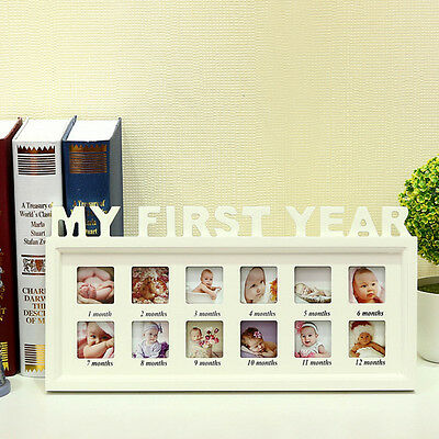 MY FIRST YEAR Baby Photo Frame Multi PICTURE DISPLAY 12 Months WHITE Wood Gift