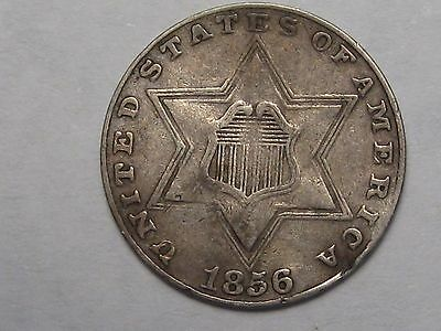 1856 US Silver 3 Cent Coin.  #4