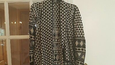 NEW - ALL SIZES black and off white cardigan wrap sweater shawl XL L M S