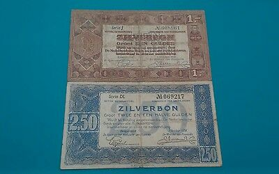 LOT OF TWO 1938 NETHERLANDS 1 & 2 1/2 GULDEN ZILVERBON NOTES - p61,62
