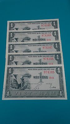 ND (1955) National Bank of Viet Nam (South) 5×1 Dong consecutive numbers.UNC