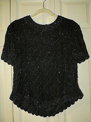 Papell Boutique  Evening  100% Silk  Black  Beaded Formal Top  Size  XL