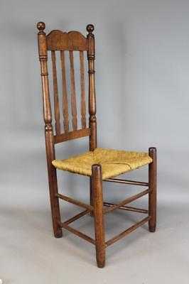 Rare 18Th C Cape Cod Ma Bannister Back Chair In Great Old Grungy Surface