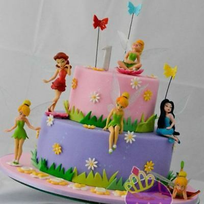 6x Tinkerbell Fairy Birthday Figure Cake Topper Figurine Garden decor PVC Toys