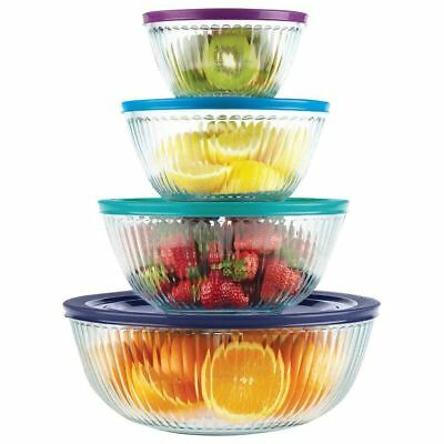 8pc PYREX SCULPTURED Mixing Bowl Set 4.5Qt 9.5, 5.5, 3 Cup Multi-COLORED Covers
