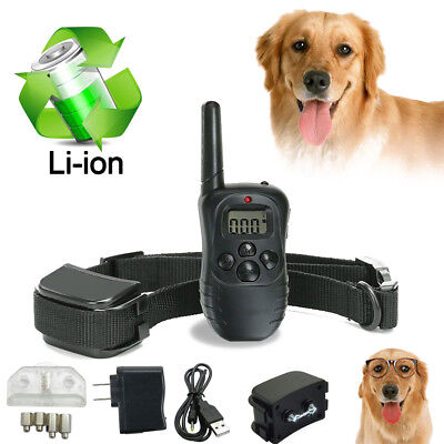 100LV Rechargeable Remote LCD Electric Shock Vibrate Dog Training Control Collar
