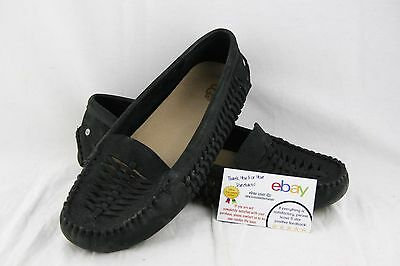 Ugg Black Woven Leather Slip On Loafers Mocassin 10 Us Womens 1009881