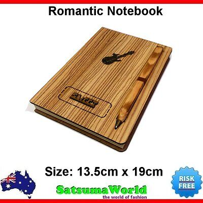 Journal Diary Girls Notebook Cahier Hard Cover Wooden Book with Pen Wood New