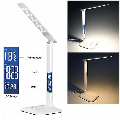 LED Desk Lamp Eye-caring Dimmable Touch Control LCD Calendar Reading Table Lamp