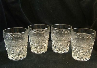 4 Vintage Anchor Hocking Wexford Clear On The Rocks Glass Tumblers 9 1/2 Ounce