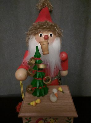 """Retired Steinbach """"Smoker Christmas Santa"""" with Music Box made in Germany (S751)"""