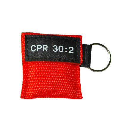 CPR Face Mask Keychain Face Shield Frist Aid Training 30:2 Teaching Red New