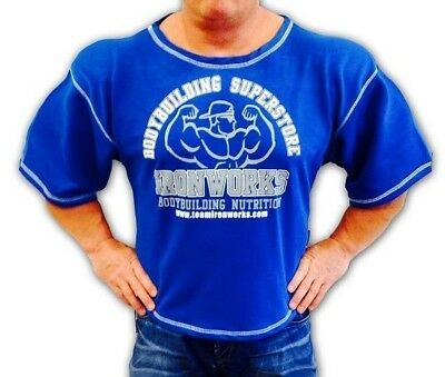 Royal Blue Team Ironworks Bodybuilding Gym Fitness Clothing Workout Top