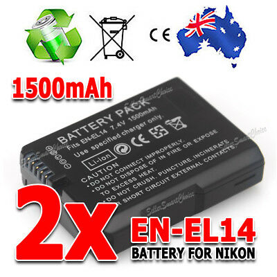 2x EN-EL14 1500mAh Backup Battery For Nikon Camera D3100 D3200 D5100 P7000 P7100