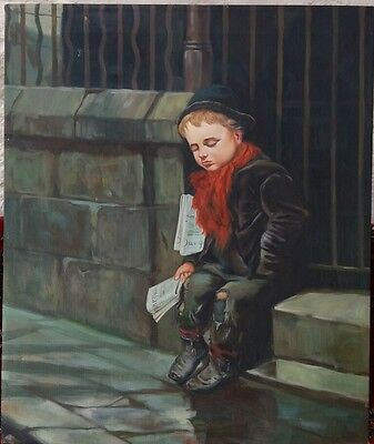 C20th oil painting of small boy indistinctly signed