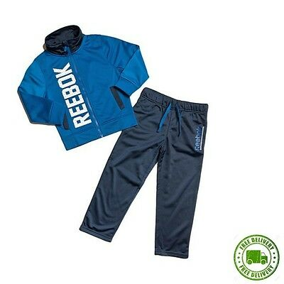 Reebok Boys Full Tracksuit Blue Poly Suit Junior Kids Top Bottoms Age 3/4 Years