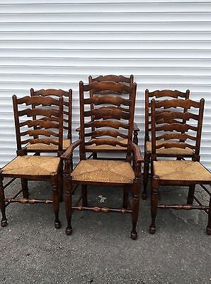 Titchmarsh & Goodwin Set Of  6 Oak Ladder Back Dining Chairs
