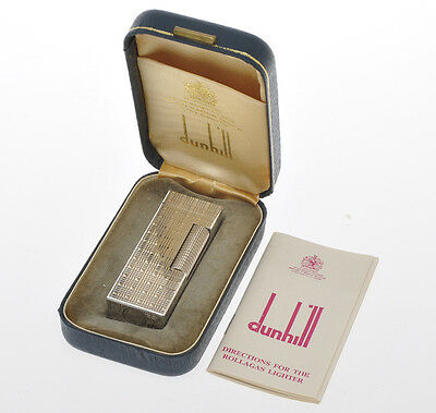 Dunhill, rare Rollagas lighter, silver plated mint in box