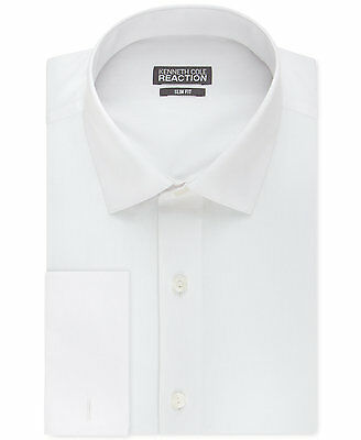 $95 KENNETH COLE REACTION Men SLIM-FIT WHITE FRENCH CUFF DRESS SHIRT 15.5 32/33