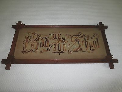 """UNIQUE Framed LATE 1800's Paper Punch Embroidery """"GOD BLESS OUR SCHOOL"""" Sampler"""
