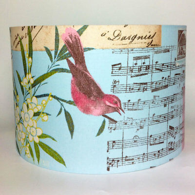 Blue Vintage Floral Birds, Large Fabric Light Shade
