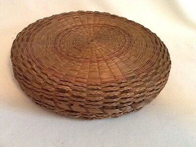 "Antique ~ Vintage Wicker Sewing Basket Excellent Condition 10 "" Diameter ESTATE"